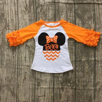 new Halloween Fall/winter baby girls children clothes boutique cotton top t-shirts raglans outfits baby mouse BOO orange Minni*e