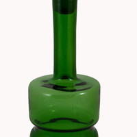 Vintage 1960s Mid Century Unusual Green Decanter with Glass