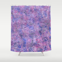 Purple and faux silver swirls doodles Shower Curtain by savousepate