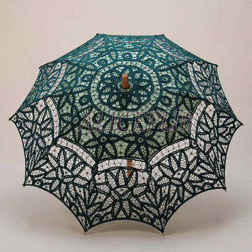 Wedding Umbrella, Green Battenburg Lace Umbrella, Cotton Wedding Parasol, Vintage Wedding Party Decoration, Bridal Photography Props HS15-3