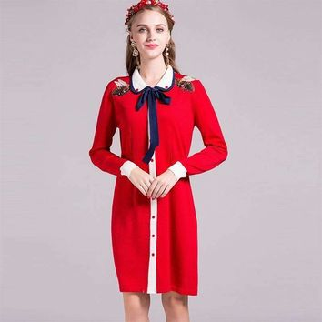 2016 Design Women Knitted Dress Full Sleeve Bees Embroidery Peter pan Collar Knee Length Red And Blue Dress Top Quality