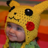 Pikachu Crochet Hat Pattern (Baby, Toddler, and Child sizes)
