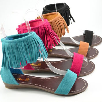 Womens Sandals Ankle Fringe Sandal Faux Suede Black Tan Teal Fuschia New