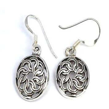Sterling Silver Celtic knotted Shield Dangle Earrings