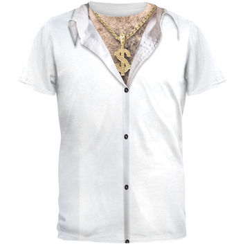Hairy Chest Gold Chain Costume All Over Adult T-Shirt