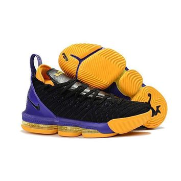 Nike Lebron 16 Black Gold Purple Los Angeles Lakers Sneakers