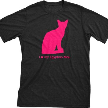 I Love My Egyptian Mau | Must Love Cats® Hot Pink On Black Short Sleeve T-Shirt