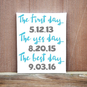Personalized Date Wedding Canvas, Best Day Ever Canvas, Wedding Gift, Ready To Hang, Wedding Decoration, Wedding Idea, Wedding Date