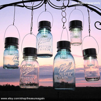 Garden Solar Jar Lights 6 Hanging Mason Jar Solar Lids, Garden Decor, Weddings, Outdoor, 6 Hangers, Mason Jar Solar Lids Only, No Jars