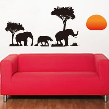 PVC Removable Elephant Tree 70x50cm DIY Decals Mural Wallpaper wall sticker Living Bed Room Background Decoration
