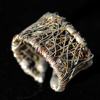 Silver Band ring Wire ring Contemporary jewelry Wire sculpture art ring Adjustable ring Unique ring for her Unusual jewelry Silver copper