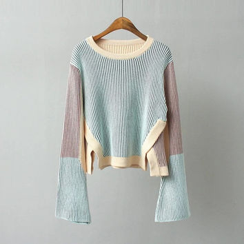 New Design Flare Sleeve Knitwear Irregular Hem Short Sweater Fashion Women Contrast Color Wild Slim Sweater ED7250-1115
