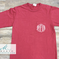 Monogrammed Pigment Dyed Long Sleeve Pocket Tee