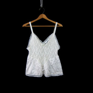 Sexy White Vintage Lingerie Lace Negligee Shirt 80s Ruffled Slip Tank Top Nightie Women's Size Medium Large