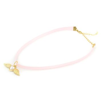 Pink Winged-Heart Strap Choker Necklace