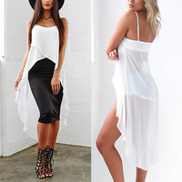 Hot Sale Women's Fashion Irregular Spaghetti Strap Chiffon Tops [4970296900]