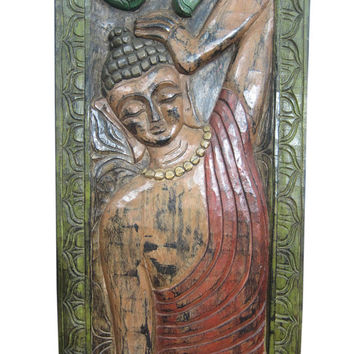India Art Headboards Wall Panel Reclining Buddha Hand Carved Wall Panel