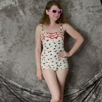 1950s Bathing Suit Swimsuit Playsuit Romper Catalina Black Cat White Red
