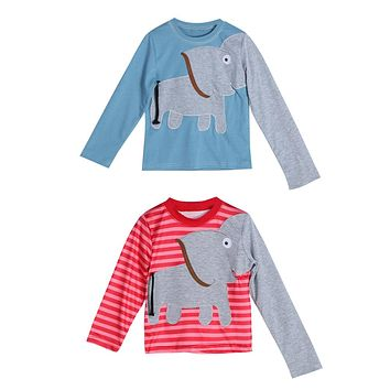 Kids Elephant Print Striped Long Sleeve Shirt