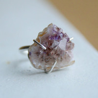 Triangle Amethyst Geode Rough Stone Prong Set Sterling Silver Ring