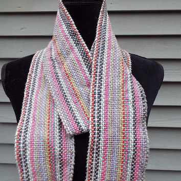 Handwoven Cotton Scarf, Striped scarf, handmade grey scarf with colored stripes, fashion scarf, gifts for her, mothers day, gifts for mom