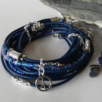 Blue Leather Wrap Bracelet Free Worldwide Shipping