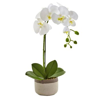 Artificial Flowers -Phalaenopsis Orchid In Ceramic Pot Arrangement Silk Flowers