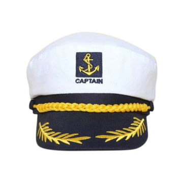 Yacht Captain Navy Marine Skipper Ship Sailor Military Nautical Hat Cap White SM6
