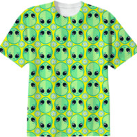 Sad Alien Pattern created by chobopop | Print All Over Me