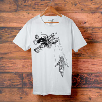 Octopus Kraken + Deep Sea Diver Men's Tee // Nautical Men's Crewneck T Shirt // U.S Navy - Men's Clothing // Men's Graphic Tee