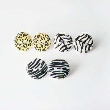 Safari Button Stud Earring Set - Plastic Post for Sensitive Ears - Button Jewelry
