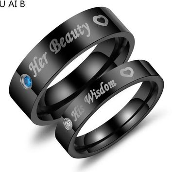 Fashion titanium steel couple Romantic Wedding Rings For Lover men's ring women's ring Wedding jewelry on Valentine's Day gift