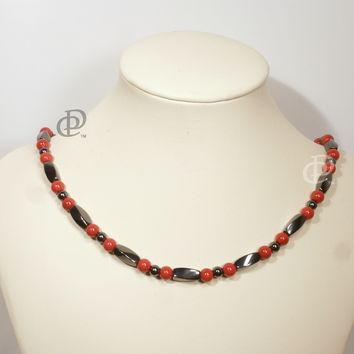 Magnetic Black Red Necklace 3X Power Black Twist Beads, Round Red Beads, 5000 Gauss Black Clasp