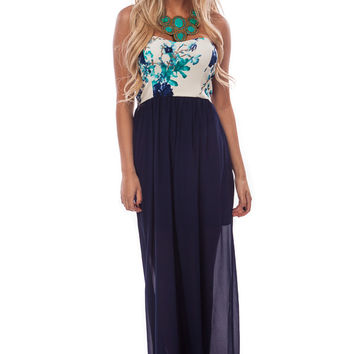 Navy Floral Top Detail Maxi Dress