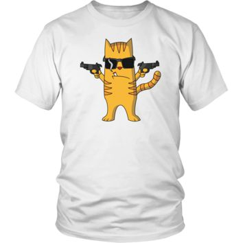 Men's Cat with Gun T-Shirt - Funny Cat Lovers Gift