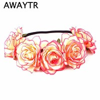 AWAYTR Summer Wedding Flower Headband Head Band Floral Head Wreath Women Wedding Bridesmaid Bridal Headpiece Girls Flower Crown