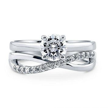 A Flawless 1CT Round Cut Solitaire Russian Lab Diamond Infinity Bridal Set