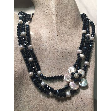Nemesis hand wrapped pearl 3 strand necklace