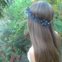 Black Flower Crown, Flower Headband, black flowers, rustic Headband, gothic headband, fall flower crown, black flower halo, black flowers