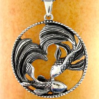 Dramatic Swimming Butterfly Koi Fish Necklace