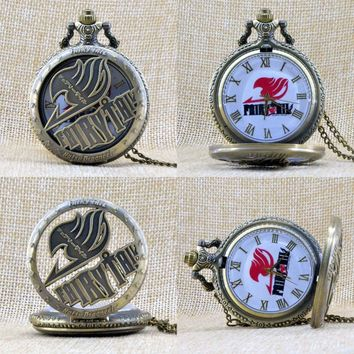 New Fashion Fairy Tail Natsu Dragneel Japan Cartoon Animation Quartz Pocket Watch Analog Pendant Necklace Mens Womens Gift P313