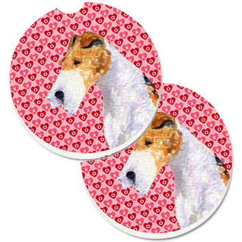 Fox Terrier Hearts Love and Valentine's Day Portrait Set of 2 Cup Holder Car Coasters SS4478CARC