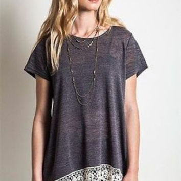 Lace Hem Boho Chic Style Burnout Short Sleeve Knit Blouse Top