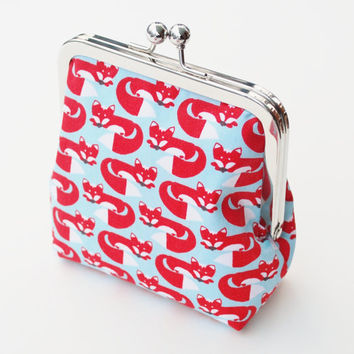 Fox Coin Purse, Handmade Vegan Wallet , Organic Fabric in Red, Aqua, and White