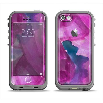The Grunge Watercolor Pink Strokes Apple iPhone 5c LifeProof Fre Case Skin Set