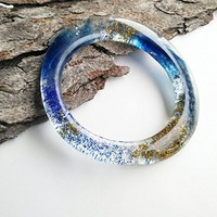 Blue Resin Feather Bangle