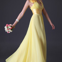 Yellow Deep V-Neck Flower Shoulder  Flounce Bridesmaid Dress