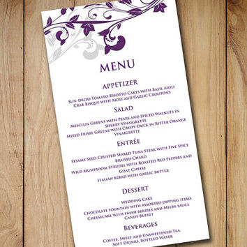 "Wedding Menu Card Template Download - ""Whimsical Vines"" Eggplant Purple Silver Gray - DIY Wedding Menu Template - Microsoft Word Template"