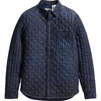 H&M - Quilted Denim Shirt Jacket - Dark denim blue - Men
