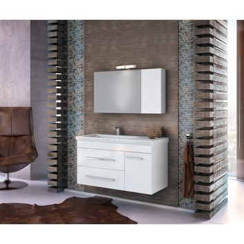 """DP Wall Bath Vanity Cabinet Set 39.4"""" Single Sink W/ White Gloss Lacquer Finish"""